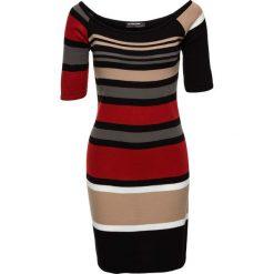 Sukienka dzianinowa w paski bonprix czerwono-beżowo-czarny w paski. Czerwone sukienki dzianinowe marki Mohito, l. Za 89,99 zł.
