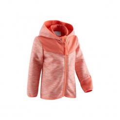 Bluza na zamek z kapturem Gym & Pilates 500 dla maluchów. Czerwone bluzy niemowlęce marki DOMYOS, z elastanu, z kapturem. Za 54,99 zł.