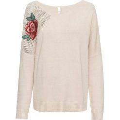 """Sweter z dekoltem """"carmen"""" bonprix beżowo-szary. Niebieskie swetry klasyczne damskie marki bonprix, na lato, w kwiaty, z asymetrycznym kołnierzem. Za 99,99 zł."""