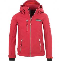 """Kurtka softshellowa """"Preikestolen"""" w kolorze koralowym. Czerwone kurtki dziewczęce marki Reserved, z kapturem. W wyprzedaży za 145,95 zł."""