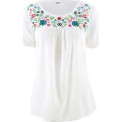 Bluzka z haftem, krótki rękaw bonprix biały. Białe bluzki z odkrytymi ramionami marki Molly.pl, l, eleganckie. Za 69,99 zł.
