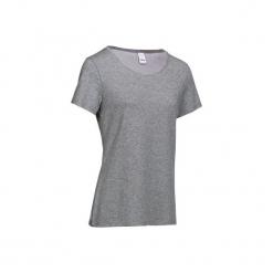 Koszulka krótki rękaw Gym & Pilates damska. Czarne bluzki sportowe damskie marki DOMYOS, z elastanu. Za 19,99 zł.