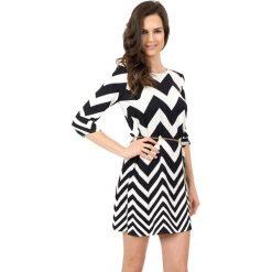 Sukienki hiszpanki: Sukienka w czarno białe wzory z rękawem 3/4 BIALCON