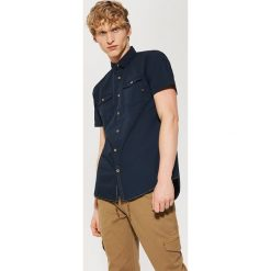 Koszule męskie na spinki: Koszula z krótkim rękawem – Granatowy