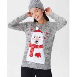 Sweter ze świąteczną aplikacją - Jasny szar. Szare swetry klasyczne damskie House, l. Za 79,99 zł.