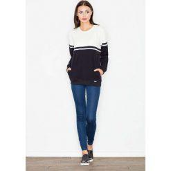 Bluzy rozpinane damskie: Czarna Bluza Długa Dwubarwna