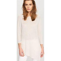 Swetry damskie: Asymetryczny sweter - Różowy