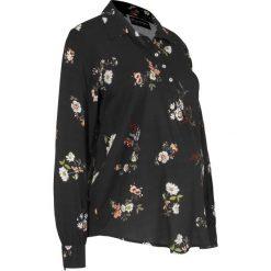 Bluzka ciążowa i do karmienia bonprix czarny w kwiaty. Czarne bluzki ciążowe marki bonprix, w kwiaty, z materiału, ze stójką. Za 89,99 zł.