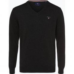 Gant - Sweter męski, szary. Szare swetry klasyczne męskie GANT, m, z haftami, z bawełny, z dekoltem w serek. Za 349,95 zł.