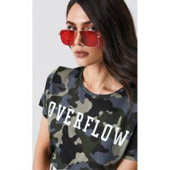 Okulary przeciwsłoneczne damskie aviatory: NA-KD Trend Kwadratowe okulary przeciwsłoneczne – Red