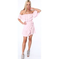 Sukienki: Sukienka z falbanami jasnorózowa ZZ374