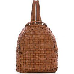 Plecaki damskie: Skórzany plecak w kolorze jasnobrązowym – 25 x 31 x 13 cm