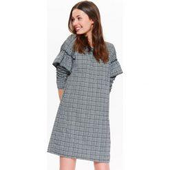 Sukienki: SUKIENKA DAMSKA W KRATĘ, Z FALBANKAMI