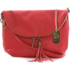 Torebki klasyczne damskie: Skórzana torebka w kolorze czerwonym – 22 x 18 x 2 cm