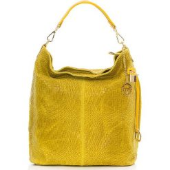 Torebki klasyczne damskie: Skórzany shopper bag w kolorze żółtym – 42 x 38 x 17 cm
