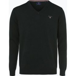 Gant - Sweter męski, zielony. Zielone swetry klasyczne męskie marki GANT, m, z haftami, z bawełny, z dekoltem w serek. Za 349,95 zł.