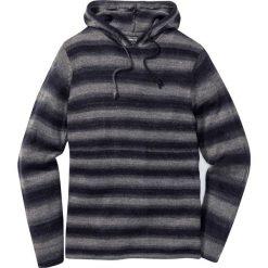 Sweter z kapturem Slim Fit bonprix szaro-niebieski w paski. Szare swetry klasyczne męskie marki bonprix, l, w paski, z kapturem. Za 99,99 zł.