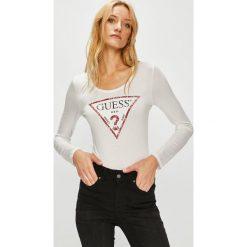 Guess Jeans - Bluzka. Szare bluzki z odkrytymi ramionami Guess Jeans, l, z aplikacjami, z dzianiny, z okrągłym kołnierzem. Za 199,90 zł.