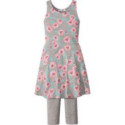 Sukienka + legginsy 3/4 (2 części) bonprix jasnoszary melanż z nadrukiem. Zielone legginsy dziewczęce marki Reserved, l, bez rękawów. Za 49,99 zł.