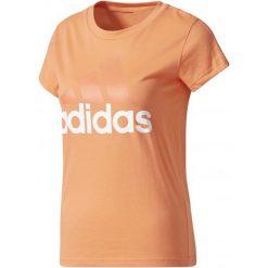 Adidas Koszulka Sportowa Ess Li Slim Tee Easy Coral/White S. Białe topy sportowe damskie Adidas, s, z bawełny, z klasycznym kołnierzykiem. W wyprzedaży za 51,00 zł.