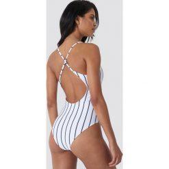 Paski damskie: Hot Anatomy Kostium kąpielowy w paski – White
