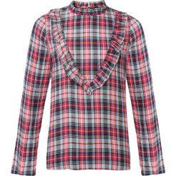 Bluza w kratę z falbanami bonprix czerwony w kratę. Czerwone bluzy damskie bonprix. Za 59,99 zł.