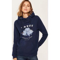 Bluza z kapturem - Granatowy. Niebieskie bluzy z kapturem damskie marki House, l. Za 79,99 zł.