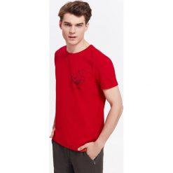 T-shirty męskie: T-SHIRT MĘSKI Z KONTRASTOWYMI LAMÓWKAMI