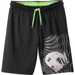 Chinosy chłopięce: Spodnie sportowe bonprix czarny z nadrukiem