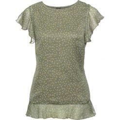 Bluzki asymetryczne: Bluzka z rękawami z falbanami bonprix oliwkowy w kwiaty