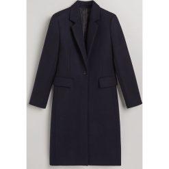 Wełniany płaszcz - Granatowy. Niebieskie płaszcze damskie wełniane Reserved. Za 599,99 zł.
