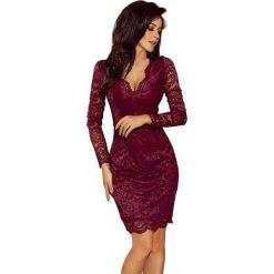 Bordowa Koronkowa Sukienka Koktajlowa. Czerwone sukienki hiszpanki Molly.pl, na imprezę, l, w koronkowe wzory, z koronki, oversize. Za 219,90 zł.