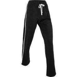Spodnie bawełniane dresowe, długie bonprix czarny. Czarne spodnie dresowe męskie marki bonprix, w paski, z bawełny. Za 54,99 zł.