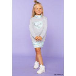 Sukienka dresowa z półgolfem, TD23_3, j.szary. Szare sukienki dziewczęce dzianinowe Pakamera, z długim rękawem, długie. Za 89,00 zł.