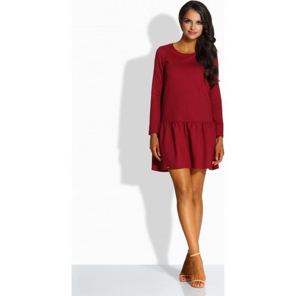 222cd4741f Elegancka sukienka z kokardą bordo VICTORIA - Czerwone długie sukienki  marki Lemoniade