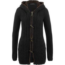 Sweter rozpinany z guzikami kołkami bonprix czarny. Czarne kardigany damskie marki bonprix. Za 149,99 zł.