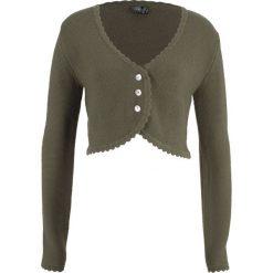 Sweter rozpinany ludowy bonprix ciemnooliwkowy. Zielone kardigany damskie marki bonprix. Za 49,99 zł.