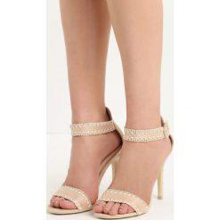 Beżowe Sandały Holy Grail. Brązowe sandały damskie marki Born2be, z materiału, na wysokim obcasie, na obcasie. Za 69,99 zł.