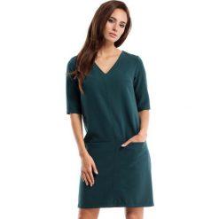 Zielona Sukienka w Serek z Kieszeniami. Zielone sukienki balowe marki Reserved, z wiskozy. Za 125,90 zł.