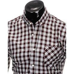 KOSZULA MĘSKA W KRATĘ Z DŁUGIM RĘKAWEM K394 - CZARNA. Brązowe koszule męskie na spinki marki Ombre Clothing, m, z aplikacjami, z kontrastowym kołnierzykiem, z długim rękawem. Za 69,00 zł.