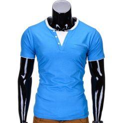 T-SHIRT MĘSKI BEZ NADRUKU S679 - NIEBIESKI. Niebieskie t-shirty męskie z nadrukiem Ombre Clothing, m, z kontrastowym kołnierzykiem. Za 19,99 zł.