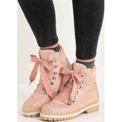 Buty zimowe damskie: Różowe Traperki Starry