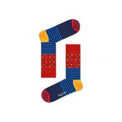 Skarpetki Happy Socks - Stripes & Dots (SDO01-6003). Szare skarpetki męskie Happy Socks, w kolorowe wzory, z bawełny. Za 34,90 zł.
