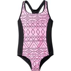 Stroje jednoczęściowe dziewczęce: Kostium kąpielowy dziewczęcy bonprix czarno-różowy