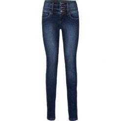 """Dżinsy ze stretchem """"Szczuplejsze brzuch, uda i pośladki"""" SLIM bonprix ciemnoniebieski. Zielone jeansy damskie marki bonprix, w kropki, z kopertowym dekoltem, kopertowe. Za 179,99 zł."""
