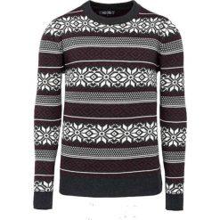 Swetry klasyczne męskie: Sweter w kolorze szarym ze wzorem