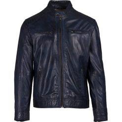 Kurtki męskie bomber: Skórzana kurtka w kolorze granatowym