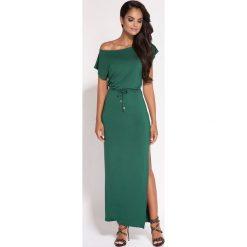 Zielona Sukienka Maxi z Dekoltem w Łódkę. Zielone długie sukienki marki Reserved, z wiskozy. Za 178,90 zł.