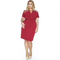 Czerwona Elegancka Sukienka Plus Size z Założeniem Kopertowym. Czerwone sukienki balowe marki bonprix, kopertowe. W wyprzedaży za 139,93 zł.