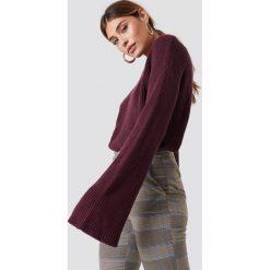NA-KD Krótki sweter z dzianiny z długim rękawem - Purple. Fioletowe swetry klasyczne damskie NA-KD, z dzianiny. Za 121,95 zł.